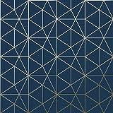 Papier Peint Metro Prisme Géométrique Triangle - Bleu Marine et Or - WOW008 World...