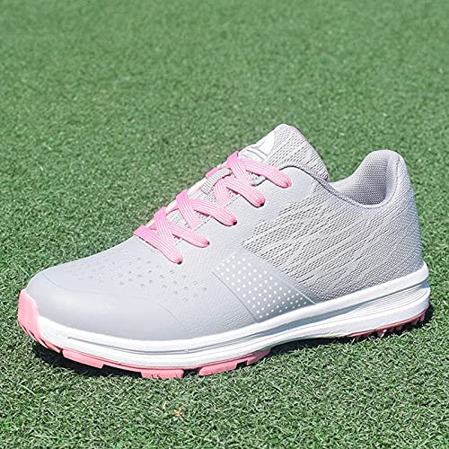 Zapatos de Golf Impermeables para Hombres, Suelas Antideslizantes, Zapatillas de Golf con Tela Transpirable, Mujeres Calzado Deportivo Informal para,Rosado,36