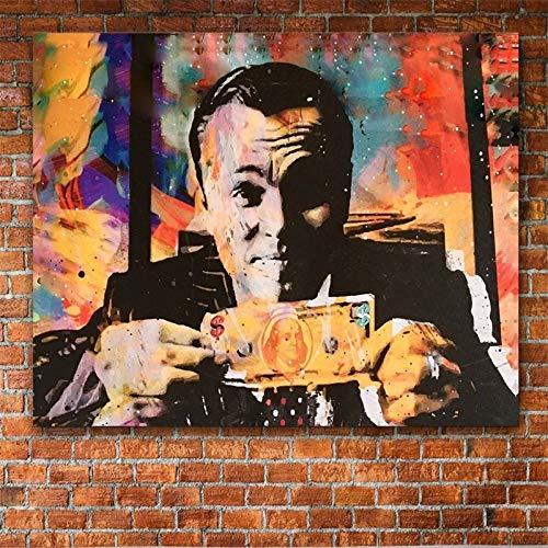 mmzki Moderne Dekoration Leinwand Malerei Vintage Poster Leinwanddruck Wolf von Wall Street Geld Gespräche Wandkunst Bilder für Wohnzimmer c