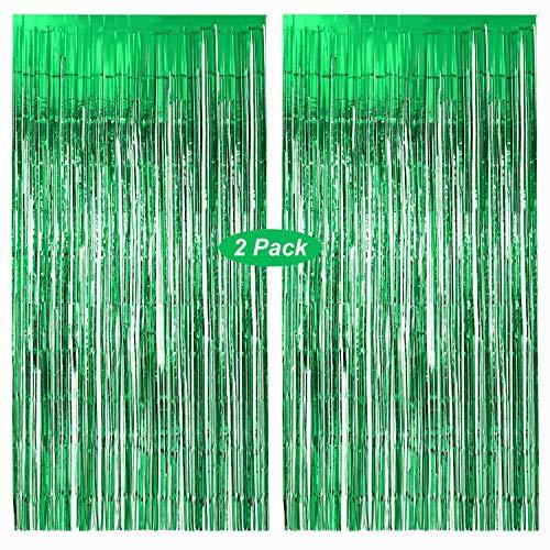 Gxhong de Cortina de Oropel,Cortina Brillante Metálico Cortinas Fringe Cortina Brillo Plata Guirnalda Telón de Fondo Ventana Decoración Pared para Aniversario Boda Navidad (Verde)