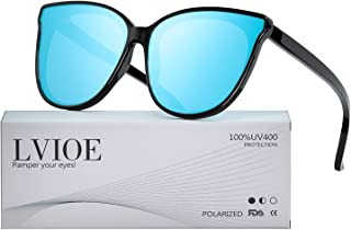 Cat Eyes Sunglasses for Women, Polarized Oversized Fashion Vintage Eyewear for Driving Fishing - 100% UV Protection