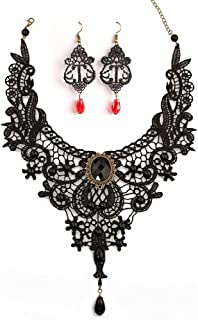 Black Lace Necklace Earrings Set, Lace Pendant Choker and Eardrop