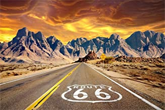 AOFOTO 8x6ft Sunset Scene Route 66 Road Backdrop Vinyl America Wild West Historic Highway Pavement Sign in Vast California Mojave Desert Mountains Background for Photography Photo Studio Props