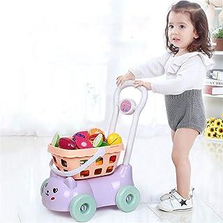 手押しカートキッズキッチンごっこショッププッシュスーパーマーケットのショッピング赤ちゃんシミュレーションままごと女の子カットフルーツカットのおもちゃセットパズルのおもちゃ