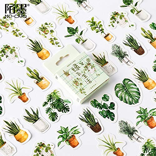 PMSMT 45 unids/Pack Plantas Verdes Cactus Adhesivo DIY Pegatina Palo Etiqueta Cuaderno álbum Diario decoración Estudiante papelería