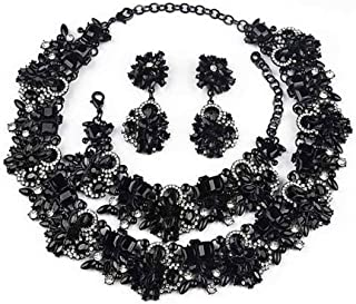 NABROJ Black Vintage Statement Necklace, Bib Choker Crystal Drag Necklace for Women Costume Novelty Jewelry with Gift Box
