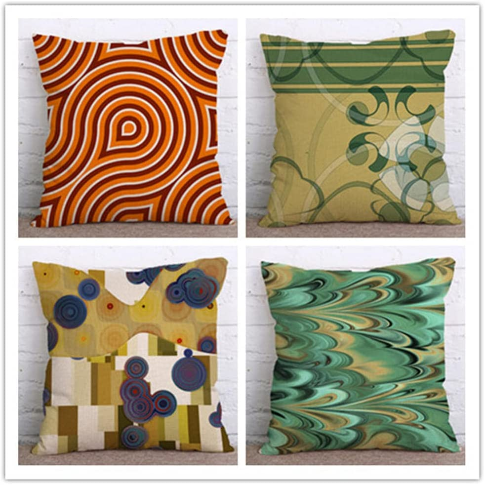 4 pieces Throw Pillow Cover Max 48% OFF 20x20 sided New product type Double Linen Sq printing