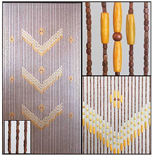 BeadedString Natural Wood Beaded Curtain-52 Strands-76 in (6.3 ft) High-Boho Door Beads-Bohemian Doorway Curtain-Victory