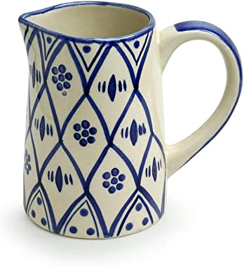 ExclusiveLane 'Moroccan Floral' Hand Painted Studio Pottery Ceramic Milk & Water Jugs for Dining Table (700 ML, M