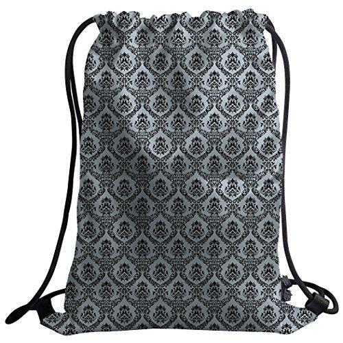 Violetpos Coutume Mode Unisexe Sac de gym Sac à dos Sac de sport Gym Bag Motif damas rétro style européen Noir