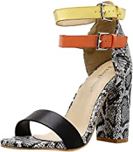 $24 Get Sanyyanlsy Womens Snakeskin High Heel Single Band Sandals Double Buckle Strap Ankle Strap Sandals Mixed Color Club Party