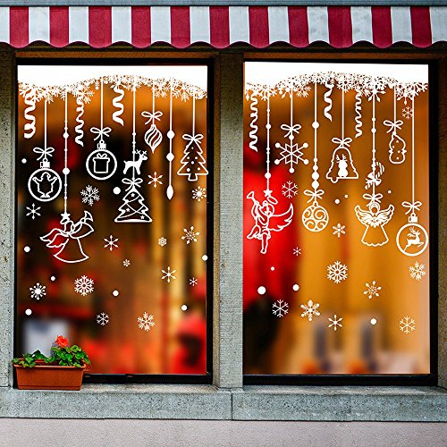 Kerstmis Muursticker Shop Venster Sticker Decoraties Slaapzaal Slaapkamer Vakantie Jurk Sneeuwvlok