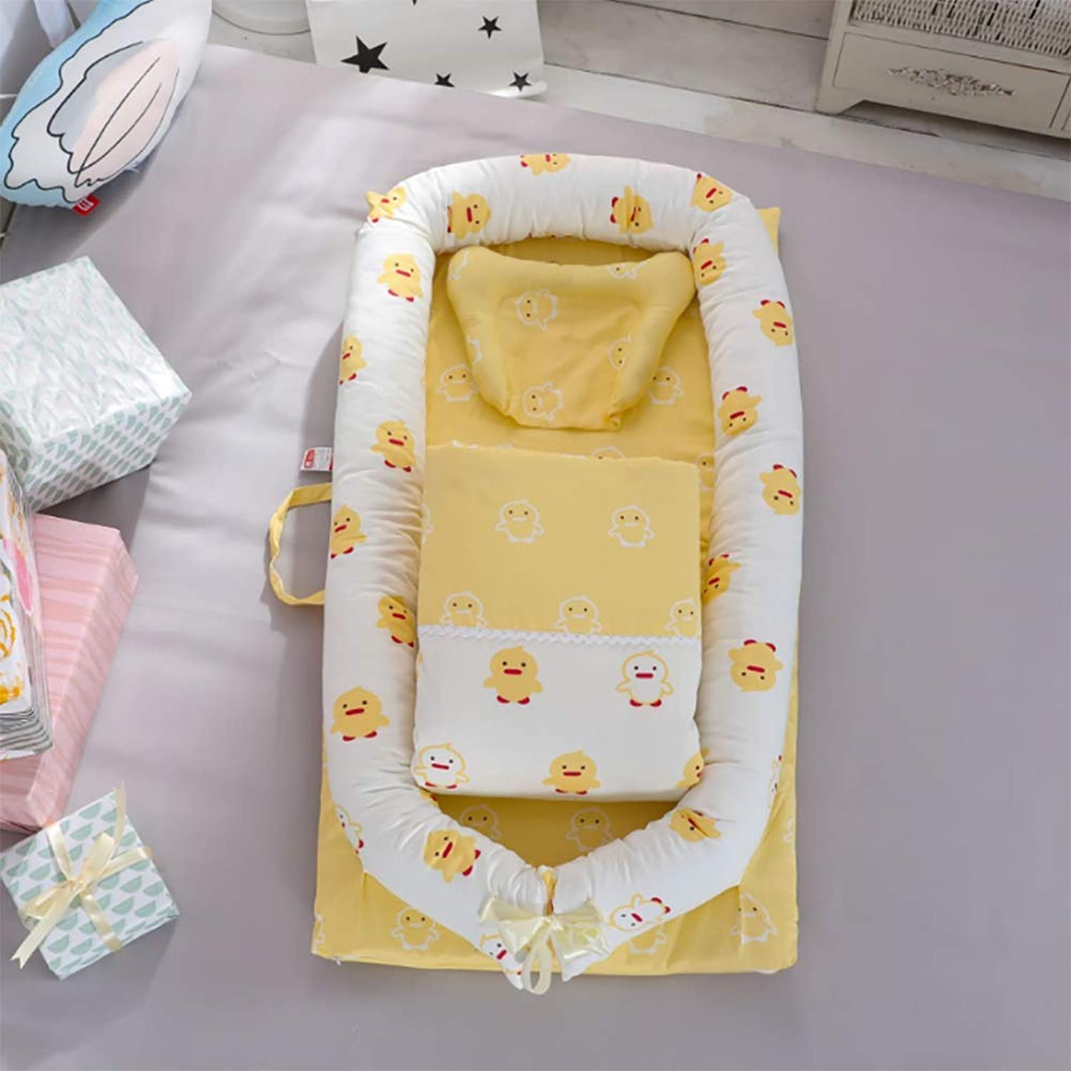 Crib Cotton Multi-Function Folding Portable Travel Baby Bionic Crib Suitable for Age 0-24 Months Baby (Removable Quilt),E