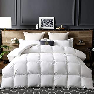 Luxurious White Goose Down Comforter,1200TC Hi-Tech Skin-Friendly Fabric Cover Full/Queen Size Bedding Duvet Insert for Winter Fluffy Warmth (Queen 90
