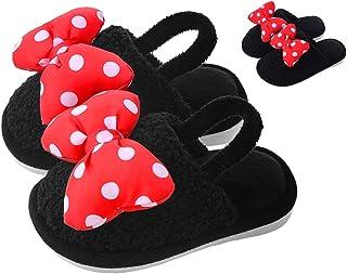 Kids Slippers Cute Bow Dot Indoor Shoes for Toddler Girls Boys Home Slippers Non Slip Winter Warm Soft Coral Velvet House ...
