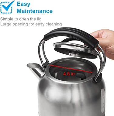 Water tea Electric Kettle SR968R, SunRose 1.7L Stainless Steel 100% BPA Free 1500W Quick Boiling Water Kettle for Coffee and