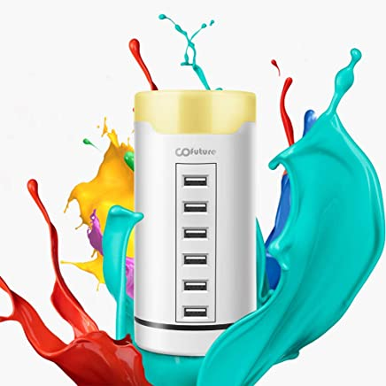 6 Ports USB Charging Station with LED Nightlight,Cofuture USB Smart Charger with Touch Sensor Control Night Lamp for iPhone, iPad, Android and Other USB-Charged Devices in Bedroom or Office,White