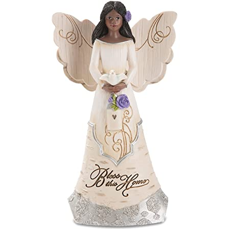 Pavilion Gift Company 82433 Bless This Home 6 Inch Ebony Angel Figurine