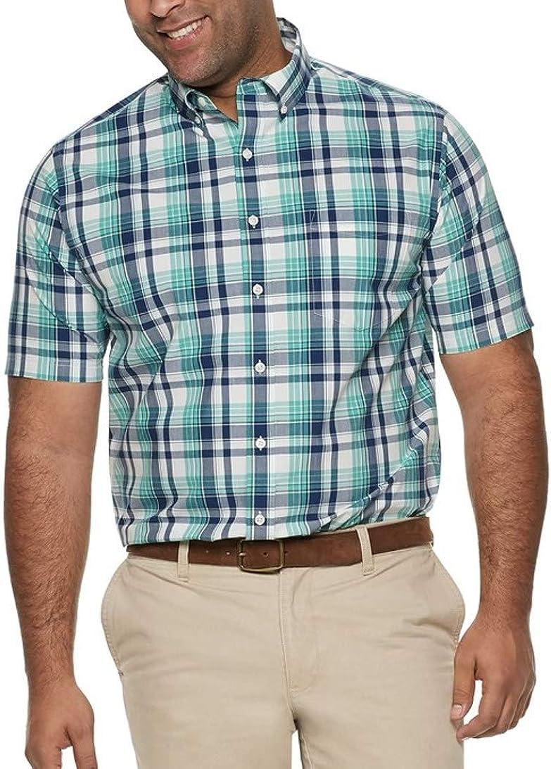 Croft & Barrow Mens Big Tall Classic Fit Short Sleeve Shirt Buttoned Down Green