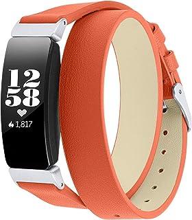 Jennyfly Bracelet de rechange en cuir pour Fitbit Inspire 2 avec boucle en métal réglable 14 à 20,3 cm
