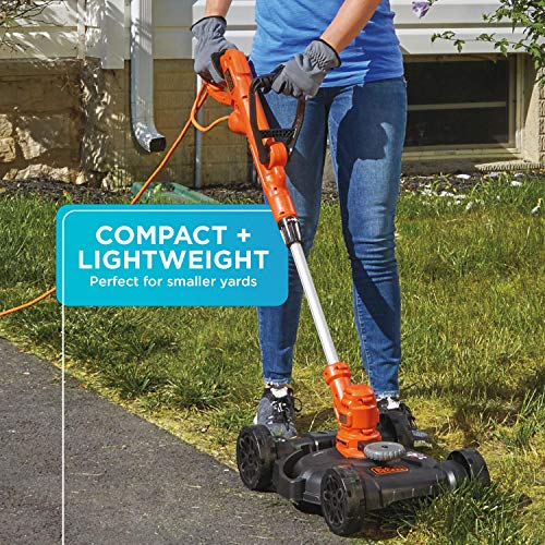 BLACK+DECKER 3-in-1 Cordless Lawn Mower, String Trimmer & Edger, 12-Inch (BESTA512CM)