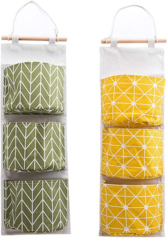 2 Packs Hanging Storage Bag HomRing Wall Mounted 3 Bags Nursery Storage Bag Over The Door Storage Pockets Fabric Wall Door Closet Hanging Storage Bag Organizer Green Yellow