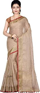 mj silks Women's Linen Slub Saree with Contrast Blouse | Golden