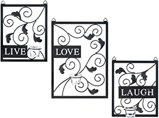 Dayanaprincess Candle Holders Live, Love, Laugh Wall Decor Cute Ornament Modern Glass Metal Bedroom Bathroom Decor Canvas or Prints Artwork Set