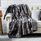 Bedsure Heated Blanket with 3 Heating Settings, 2/4/8H Timer, Auto-Off - Fast Heating Electric Blanket - Low Voltage Super Soft Faux Fur Tie Dye Fleece Throw Blanket, 50×60 Inch, Grey