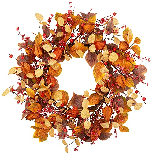 18 Inch Fall Wreath with Cape Gooseberries Artificial