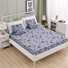 Wrinkle and Hypoallergenic,Polyester Printed Bed Sheet, Non-Slip Protective Cover Apartment Bedroom Double Bed-Gray_120*200cm