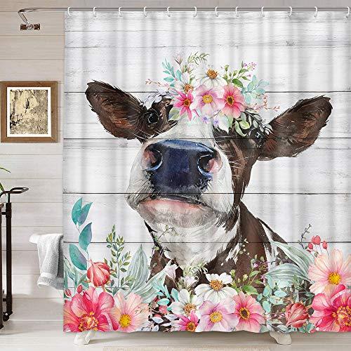 Duschvorhang mit Kuhmotiv, lustiger rustikaler Bauernhof-Rinder mit Blumenmuster auf Landhausstür, Duschvorhang, Kinder-Duschvorhang für Badezimmer mit Haken, 174 x 178 cm