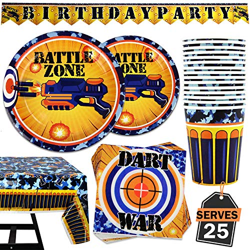 Lowest Price! 102 Piece Dart War Party Supplies Set Including Banner, Plates, Cups, Napkins, and Tab...