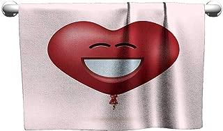 Tankcsard Hand Towel Vector Modern red Heart Balloon face with Ribbon,Towel Dress for Girls
