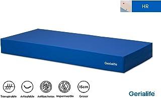 Gerialife® Colchón Geriátrico Hospitalario Articulado | 15 cm de Espuma HR | Funda Sanitaria Impermeable (90x190)