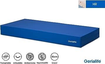GERIALIFE® Colchón Geriátrico Hospitalario Articulado | 15 cm de Espuma HR | Funda Sanitaria Impermeable (105x190)