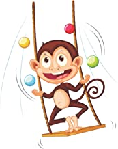 Juggling Monkey on a Swing | Blank Lined Notebook
