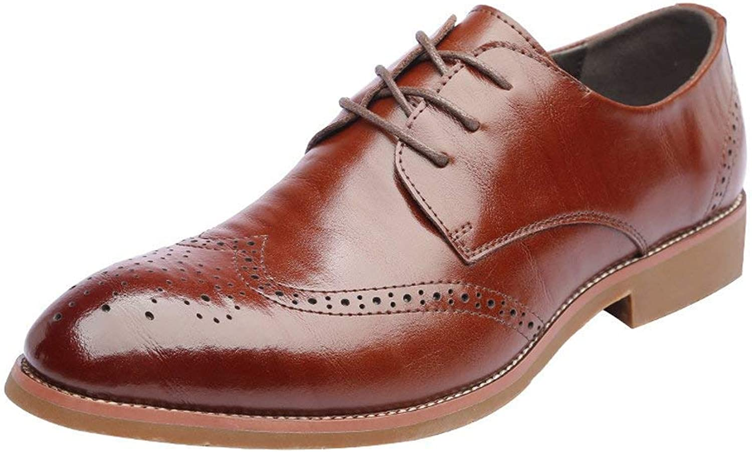 FuweiEncore 2018 Men's Genuine Leather Brogue shoes Wingtip Hollow Carving Lace up Breathable Business Low Top Lined Oxfords (color  Black, Size  43 EU) (color   Brown, Size   43 EU)