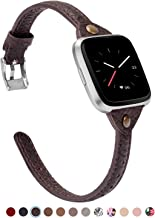 TOYOUTHS Slim Strap Compatible with Fitbit Versa/Versa 2/Versa Lite/Versa SE Bands for Women Men Thin Genuine Leather Replacement Wristbands Handmade Watch Band Accessories Multi Colors