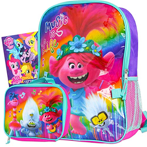 Trolls World Tour Backpack and Lunch Box Set for Girls Kids ~ Deluxe 16' Trolls Backpack with Detachable Insulated Lunch Bag and Tattoos (Trolls School Supplies Bundle)