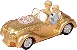 OurHommie Cake Toppers Golden Marriage Couples in A Golde Car 50th Anniversary Cake Topper