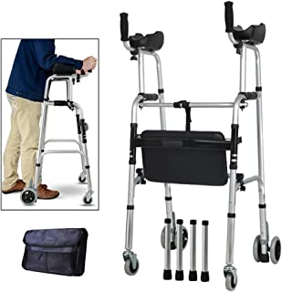 Standard Walkers Elderly People Foldable Walker Adjustable Walking Assist Equipped Wheels Equipped with Arm Rest Pad for The Limited Mobility with Disabled,FourWheels+Seats+Bag