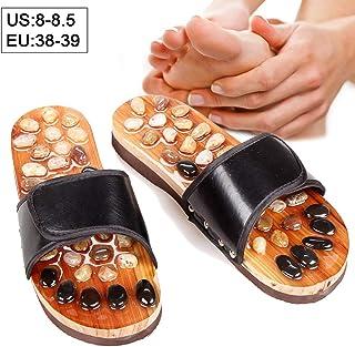 Beito 1 par de piedras naturales Zapatillas de masaje Sandalias de acupresión Zapatillas de masaje de interior Reflexología Masajeador de pies Shiatsu Arch Pain Relief (38-39)