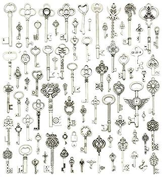 Silver Skeleton Keys Charms JIALEEY 80PCS Wholesale Bulk Lots Mixed Antique Castle Dungeon Pirate victorian Filigree Heart Royal Keys
