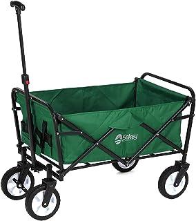 Sekey Folding Wagon with Brakes Folding Trolley Handcart Outdoor Wheelbarrow Beach Cart Folding Wagon Outdoor Garden Trail...