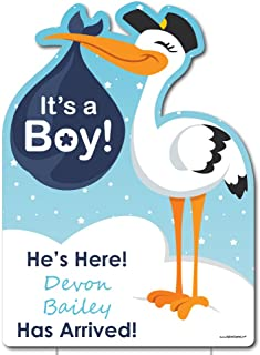 Big Dot of Happiness Custom Boy Special Delivery - Baby Arrival Sign - Blue It's A Boy Stork Personalized Baby Announcement & Welcome Yard Sign