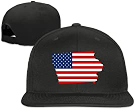 EdenEdies Unite States Map Shape The USA Flag Flat Bill Snapback Adjustable Cap Baseball Hat