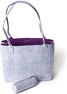Handtasche Damen Shopper Greta Einkaufstasche Damen Filztaschen Shopper groß Schultertasche Tragetasche - Grau & Violett (...
