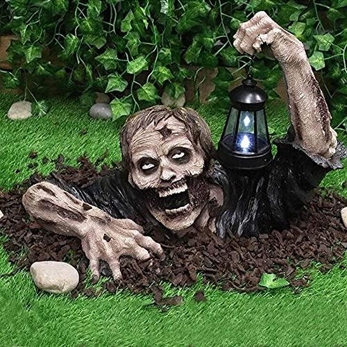 XRTJ Halloween Deko Garten,Gartenzwerg Statue Skulptur zur Garten Zombie mit Laterne für Halloween Garten Rasen Beste Dekoration