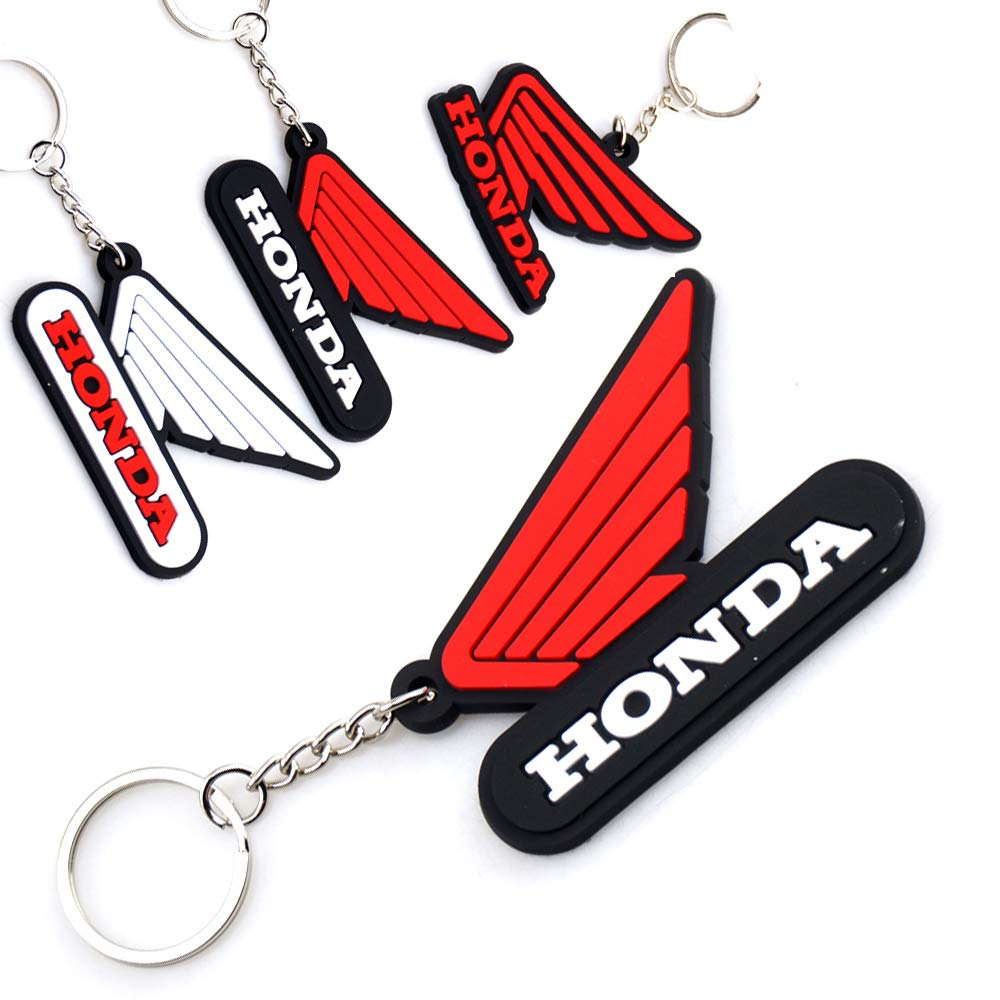White Red /& Black Just One Honda Logo Rubber Keychain All Honda